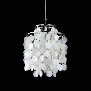 In Stock Ceiling Lights Mini White Shell Pendant Chandelier Chrome Finish