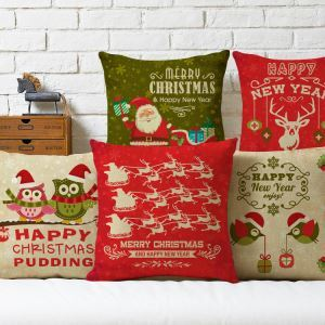 European Christmas Santa Claus Sofa Office Cushion Cover 5 Designs Christmas Pillow Cover Christmas Gifts