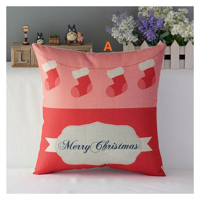 Gifts - Christmas Supplies - Modern Simple Christmas Cartoon Sofa Office Cushion Cover 6 Designs ...