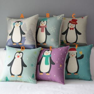 European Christmas Penguin Sofa Office Cushion Cover 6 Designs Christmas Pillow Cover Christmas Gifts
