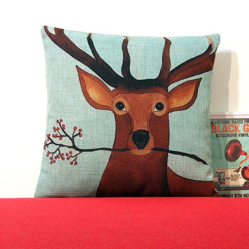 Gifts - Christmas Supplies - Modern Simple Christmas Reindeer Sofa Office Cushion Cover ...