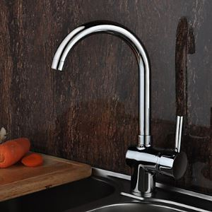 Solid Brass Deck Mounted  Kitchen Faucet - Chrome Finish