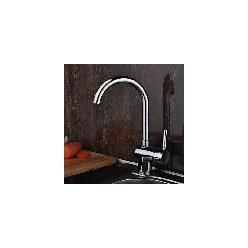 solid brass deck mounted kitchen faucet chrome finish