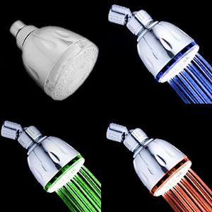 Chrome Finish Contemporary Thermochromic LED Showerhead