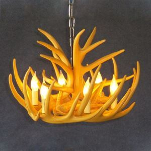 (In Stock) Rustic Cascade Chandelier Antler Chandelier Antler Lighting with 6 Lights Yellow Dining Room Lighting Ideas Living Room Bedroom Ceiling Lights(Love Of Nature)