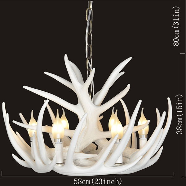 Rustic Cascade Chandelier Antler Chandelier with 6 Lights White