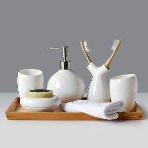 Unique Creative Design White Ceramic Bath Ensembles 6-piece Bathroom Accessories