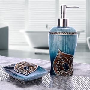 Baroque 3D Relief Resin Bath Ensembles 2-piece Bathroom Accessories