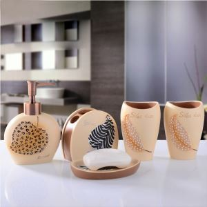 European Modern Leopard Print Resin Bath Ensembles 5-piece Bathroom Accessories
