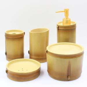 Fashionable Creative Imitated Bamboo Resin Bath Ensembles 5-piece Bathroom Accessories