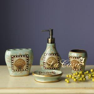 European Style Shells Creative Ceramic Bath Ensembles 4-piece Bathroom Accessories
