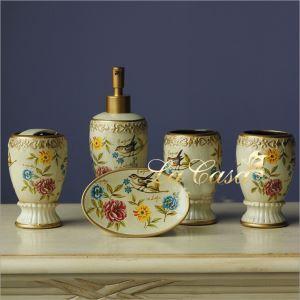 European Style Colored Drawing Creative Ceramic Bath Ensembles 5-piece Bathroom Accessories
