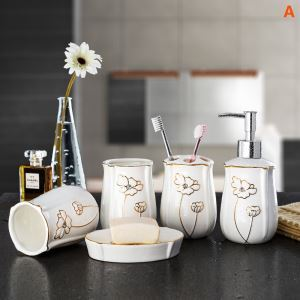 European Style Creative Stoneware Bath Ensembles 5-piece Bathroom Accessories