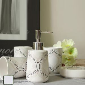 Fashionable Curve Creative Ceramic Bath Ensembles 5-piece Bathroom Accessories