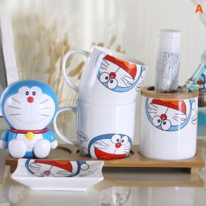 Cartoon Doraemon Creative Ceramic Bath Ensembles 4-piece 5-piece Bathroom Accessories