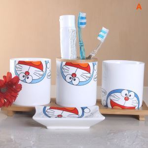 Cartoon Doraemon Creative Ceramic Bath Ensembles Without Handle 4-piece 5-piece Bathroom Accessories