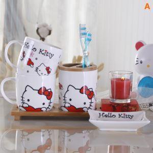 Cartoon Hello Kitty Creative Ceramic Bath Ensembles 4-piece 5-piece Bathroom Accessories
