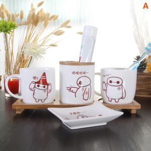 Cartoon Baymax Creative Ceramic Bath Ensembles 4-piece 5-piece Bathroom Accessories