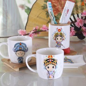 Cartoon Opera Makeups Creative Ceramic Bath Ensembles 4-piece 5-piece Bathroom Accessories