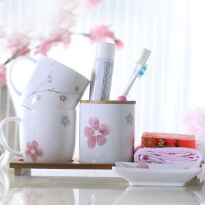 Modern Rural Plum Blossom Creative Ceramic Bath Ensembles 4-piece Bathroom Accessories