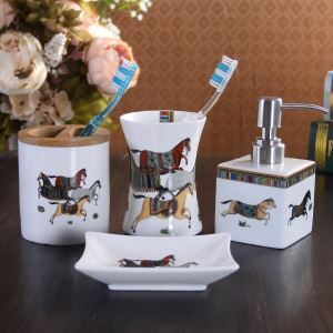 European Horse Creative Ceramic Bath Ensembles 4-piece 5-piece Bathroom Accessories
