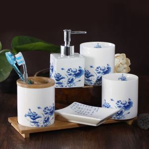 Classical Green Flower Porcelain Creative Ceramic Bath Ensembles 4-piece 5-piece Bathroom Accessories