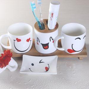 Fashionable Smile Face Creative Ceramic Bath Ensembles 4-piece Bathroom Accessories