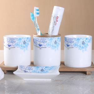 Mordern Green Flower Porcelain Relief Creative Ceramic Bath Ensembles 4-piece Bathroom Accessories