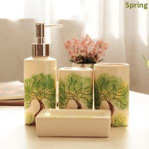 European Style Four Seasons Creative Ceramic Bath Ensembles 4-piece Bathroom Accessories