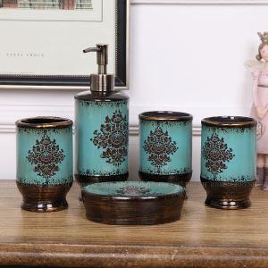 European Creative Ceramic Green Bath Ensembles 5-piece Bathroom Accessories