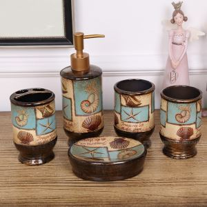 European Mediterranean Creative Ceramic Bath Ensembles 5-piece Bathroom Accessories