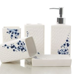 Fashionable White CeramicBath Ensembles 5-piece Bathroom Accessories