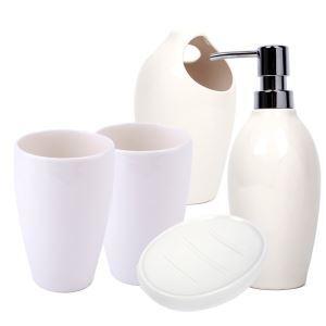 Fashionable White Creative Ceramic Bath Ensembles 5-piece Bathroom Accessories