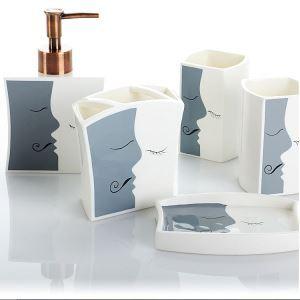Fashionable Teeth and Lip Design Creative Ceramic Bath Ensembles 5-piece Bathroom Accessories