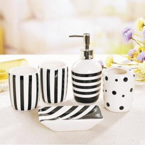 Fashionable Zebra-stripe Creative Ceramic Bath Ensembles Bathroom Accessories 4/5/6-piece