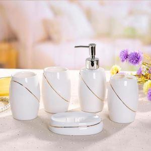 Fashionable Golden Creative Ceramic Bath Ensembles 5-piece Bathroom Accessories