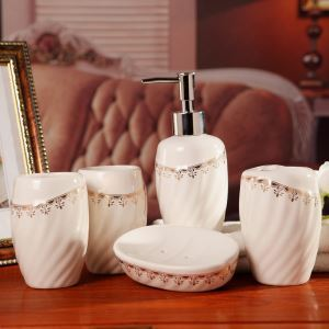 Fashionable White Creative Ceramic Bath Ensembles 5-piece Bathroom Accessories