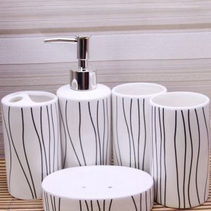 Fashionable Lines Creative Ceramic Bath Ensembles 5-piece Bathroom Accessories