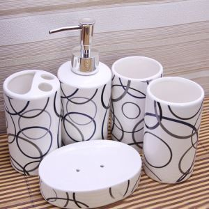Fashionable Geometric Figure Creative Ceramic Bath Ensembles 5-piece Bathroom Accessories