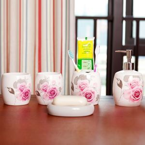 European Style Rose Creative Ceramic Bath Ensembles 5-piece Bathroom Accessories