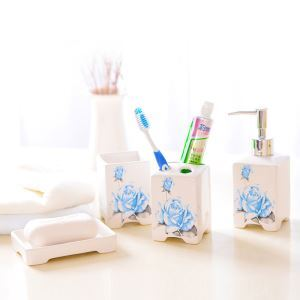 European Style Blue Rose Creative Ceramic Bath Ensembles 4-piece Bathroom Accessories