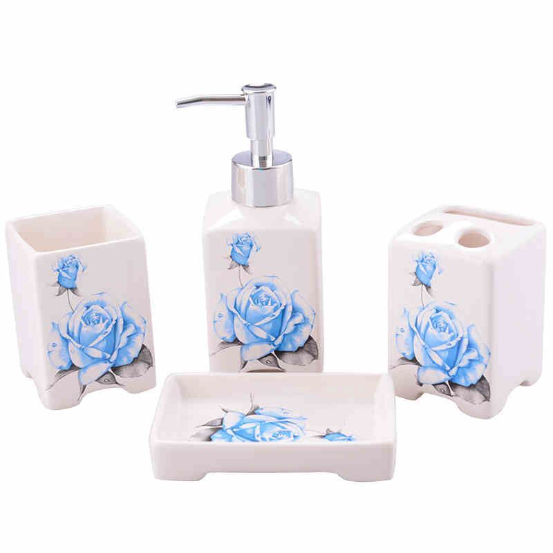 bathroom bath ensembles european style blue rose