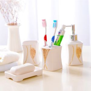 European Style Leopard Print Creative Ceramic Bath Ensembles 4-piece Bathroom Accessories