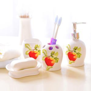 European Style Apple Creative Ceramic Bath Ensembles 4-piece Bathroom Accessories