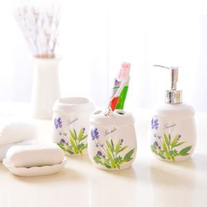 European Style Lavender Creative Ceramic Bath Ensembles 4-piece Bathroom Accessories