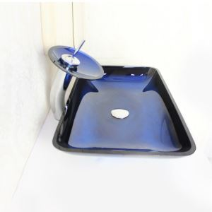 Modern Rectangle Tempered Glass Bathroom Sink With Waterfall Faucet Water Drain and Mounting Ring