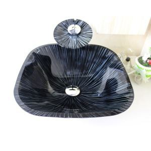 Modern Square Tempered Glass Bathroom Sink With Waterfall Faucet Water Drain and Mounting Ring