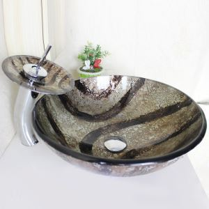 Modern Round Tempered Glass Bathroom Sink With Waterfall Faucet Water Drain and Mounting Ring