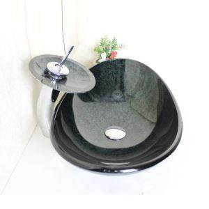 Modern Oval Tempered Glass Bathroom Sink With Waterfall Faucet Water Drain and Mounting Ring