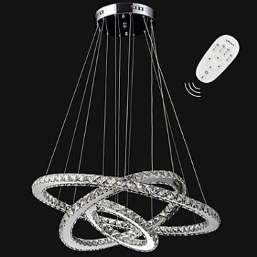 Lighting ceiling lights pendant lights dimmable led pendant dimmable led pendant light modern remote control crystal chandelier lamp fixtures with 3 ring d705030 ce ul aloadofball Image collections
